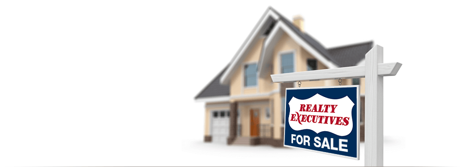 Realty Executives For Sale property sign in front of a home rendering