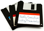 floppy disks from the 1980s labeled as digital storage for a Realty Executives Listing Presentation