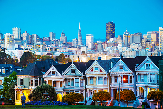 San Francisco cityscape with the Painted Ladies as seen from Alamo square park