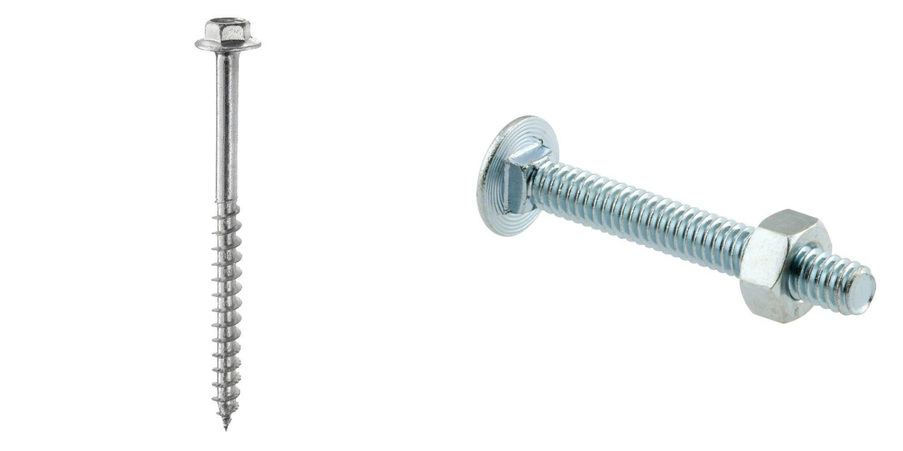 Lag screw and carriage bolt