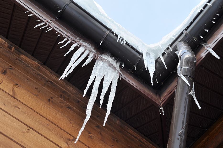 icicles on roof gutter