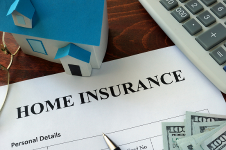 a home insurance policy form with a small house symbolizing protection for the home.