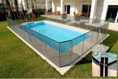 pool with safety fence and locked gate