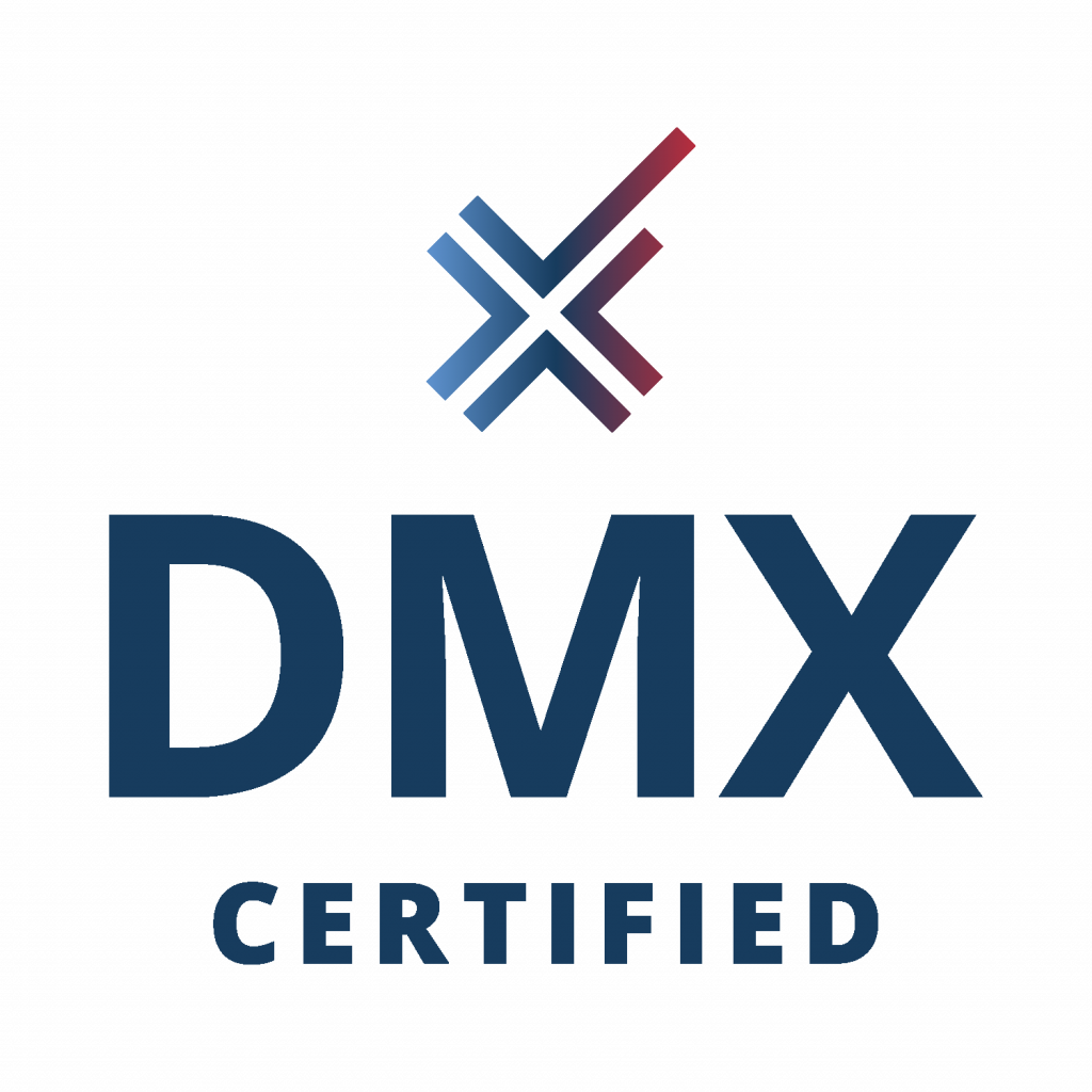"""Multi-colored digital marketing executive logo. Large """"x"""" stacked above """"DMX"""" and """"CERTIFIED""""."""