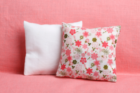 a bright floral pillow