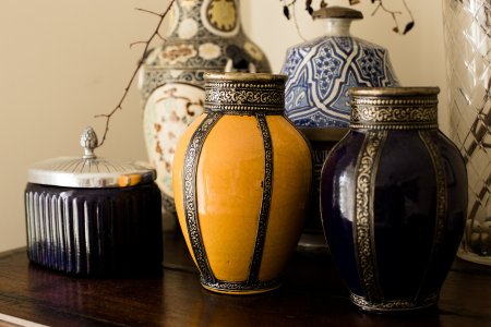 an assorted mixture of vases often found in granny chic design