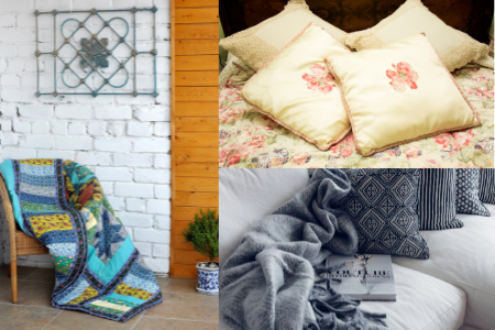 a collage of a chair with quilt, floral pillows, and a gray throw blanket with patterned pillows