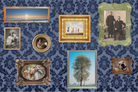 wallpapered walls with a collection of old and new frames