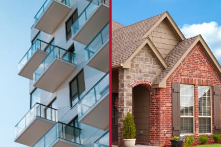 a condo building next to a single family home, representing buying a condo vs. buying a house