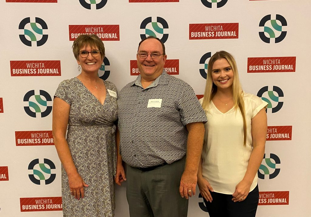 Mark, Donna, and Caitlin Sudduth at the Wichita Business Journal awards.