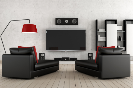 A home theater system to make the viewing experience the best it can be in the man cave.