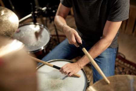 A man playing drums.