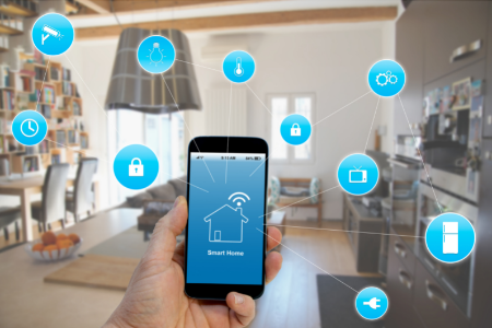 phone with icons showing home automation